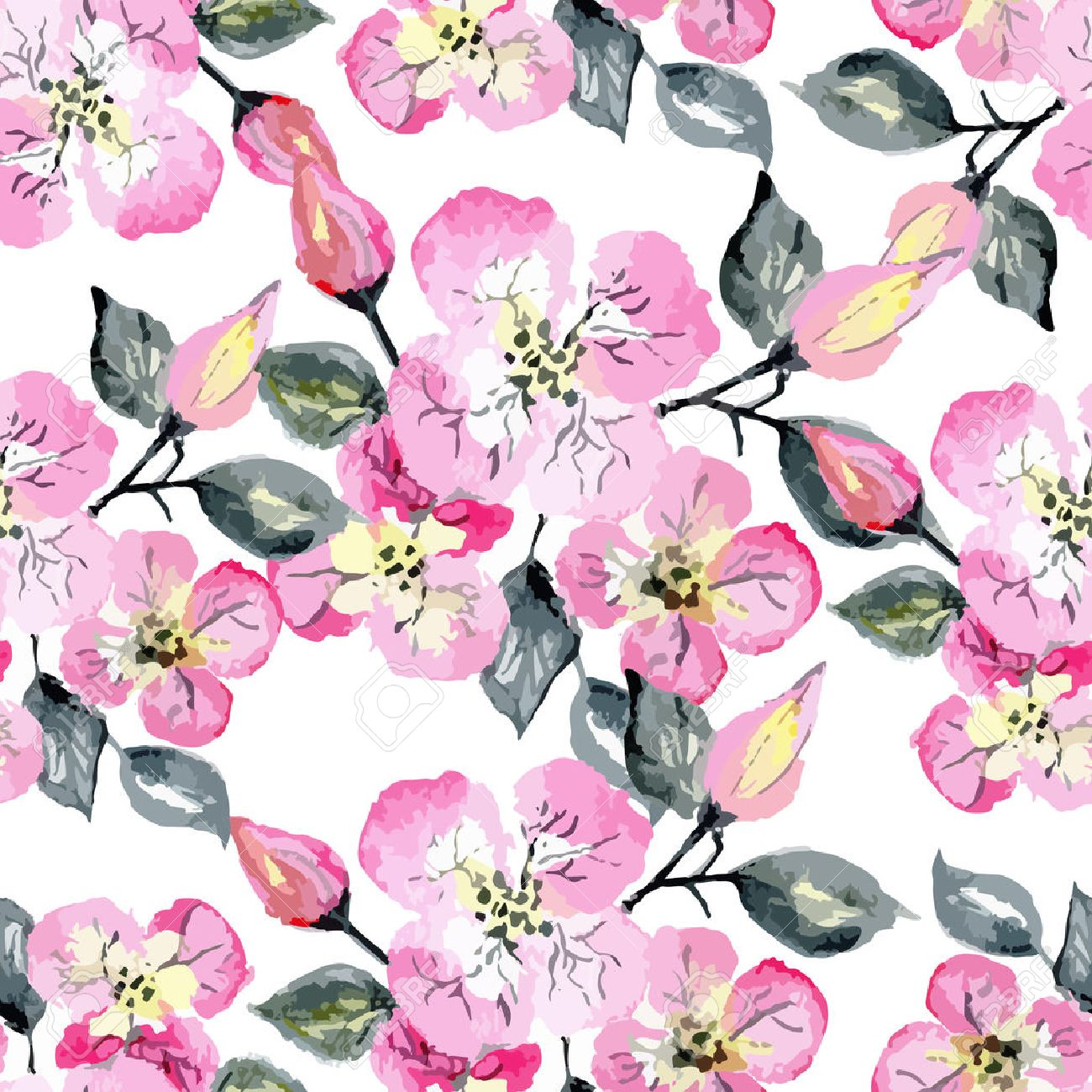 Vector Watercolor Seamless Bright Blossom Pattern, Floral Spring ...