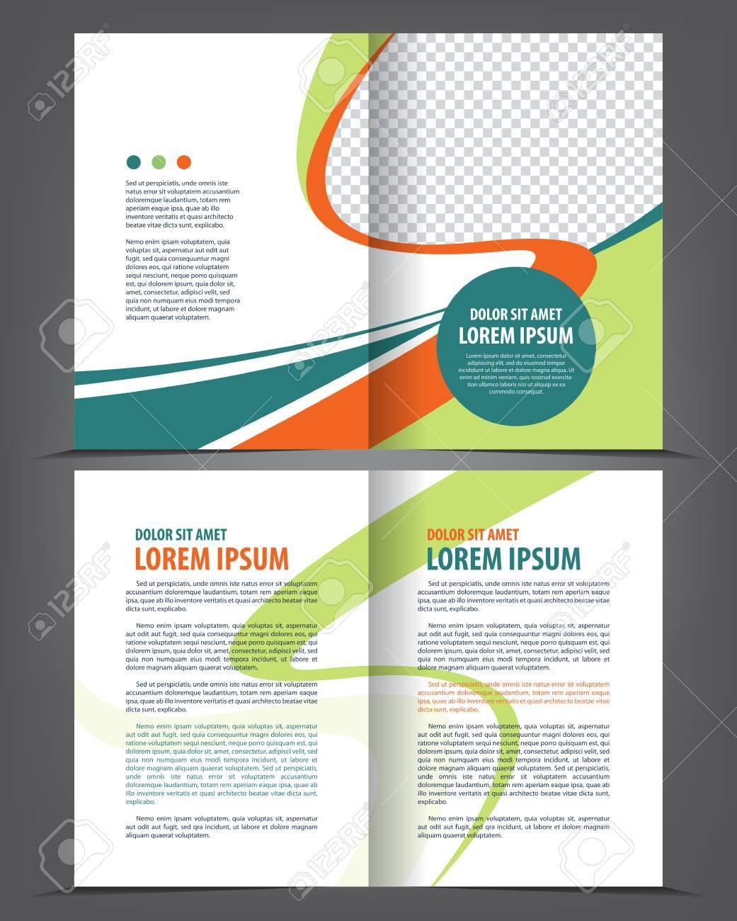 Vector Leer Bi-fold Broschüre Druckvorlage Blau Design ...