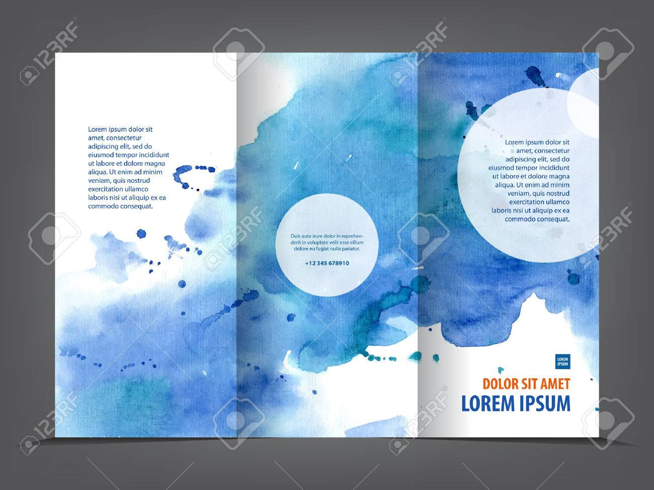 empty tri fold brochure template print blank watercolor design