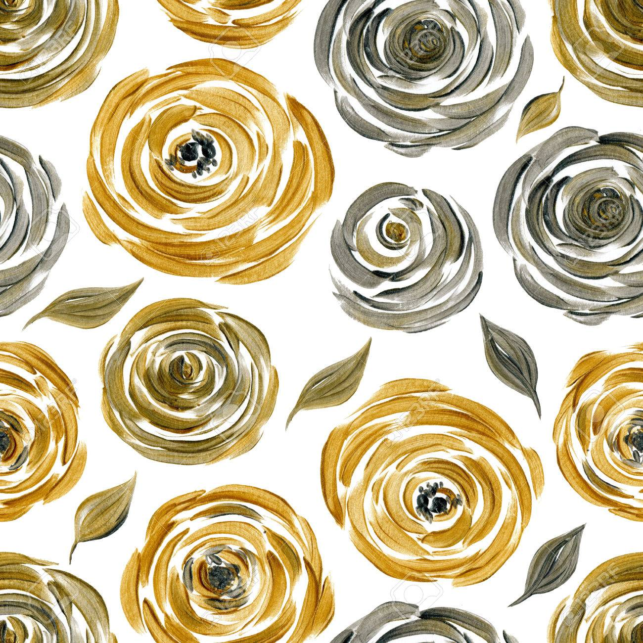 Gold And Silver Rose Seamless Background Golden Silvery Flowers Acrylic Pattern Stock Photo