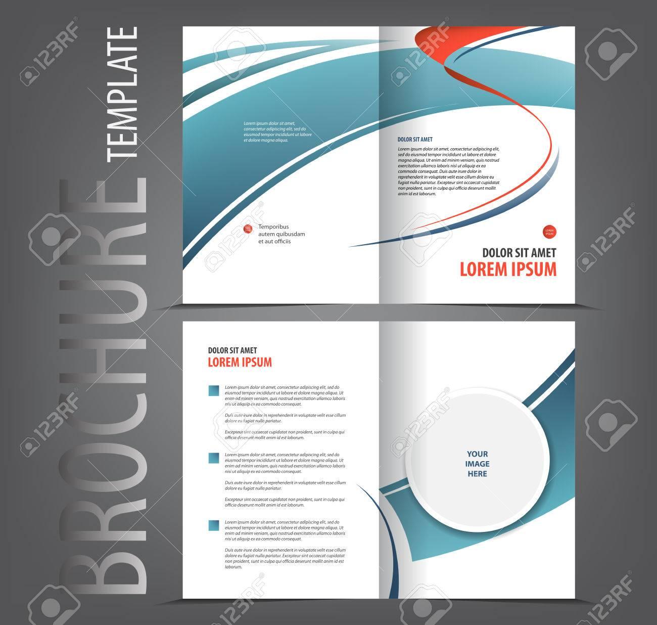 Vector Empty Bifold Brochure Print Template Design Newsletter - Bi fold brochure template