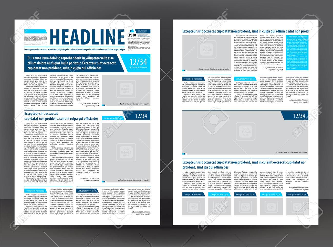 Vector De Impresión De Periódico Vacío Plantilla De Diseño Con ...