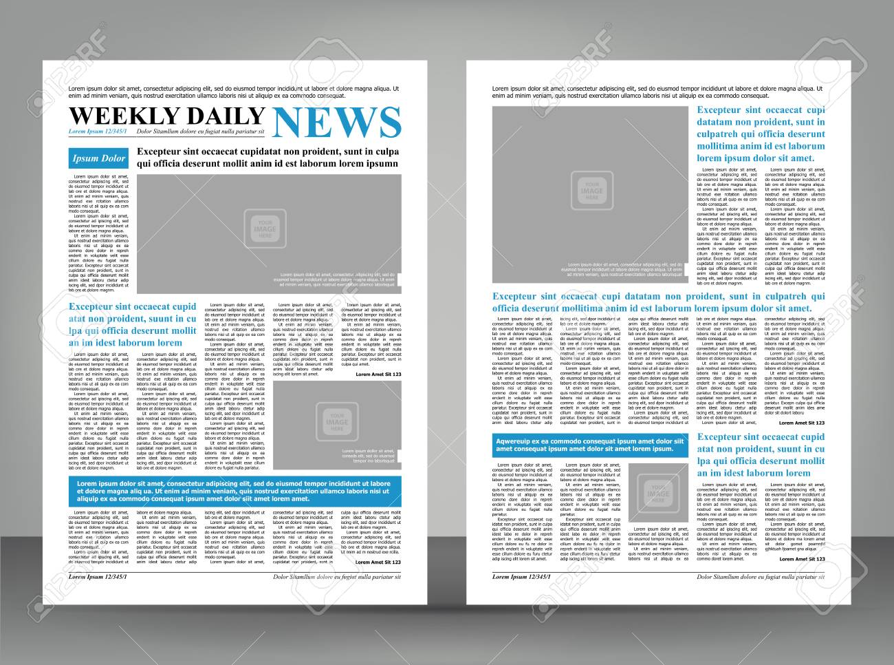 newspaper template layout print design with blue and black elements