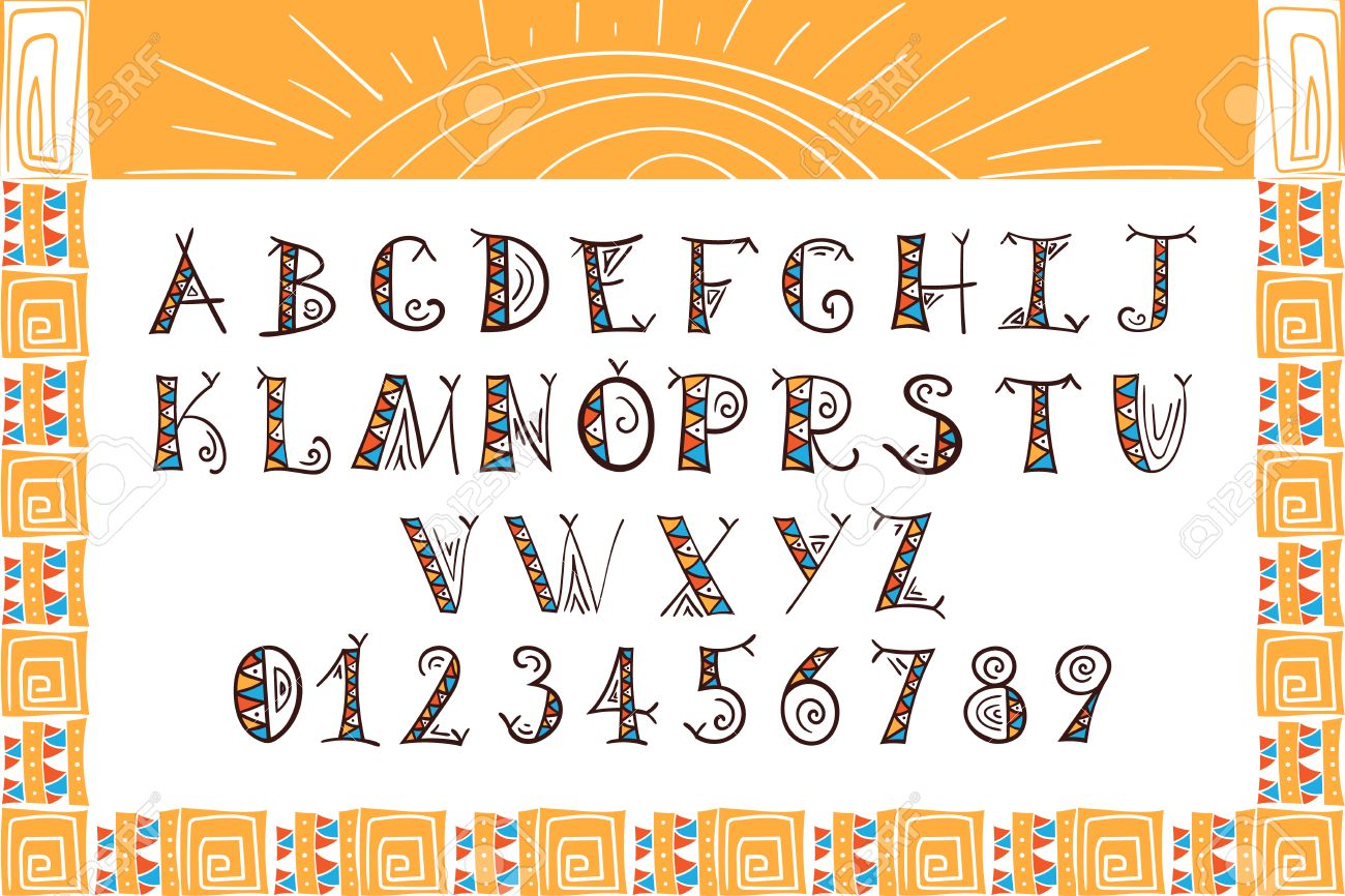 Tribal Alphabet Ethnic Font Vector African Or Aztec Style Letters