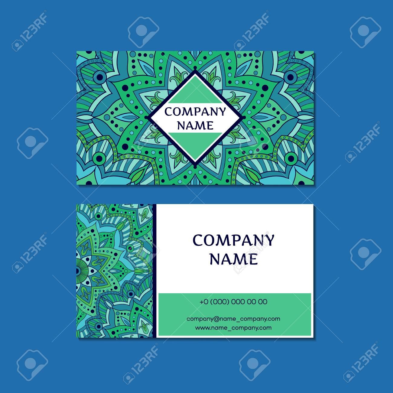 Indian Business Card Template Vector. Ornamental Floral Mandala ...