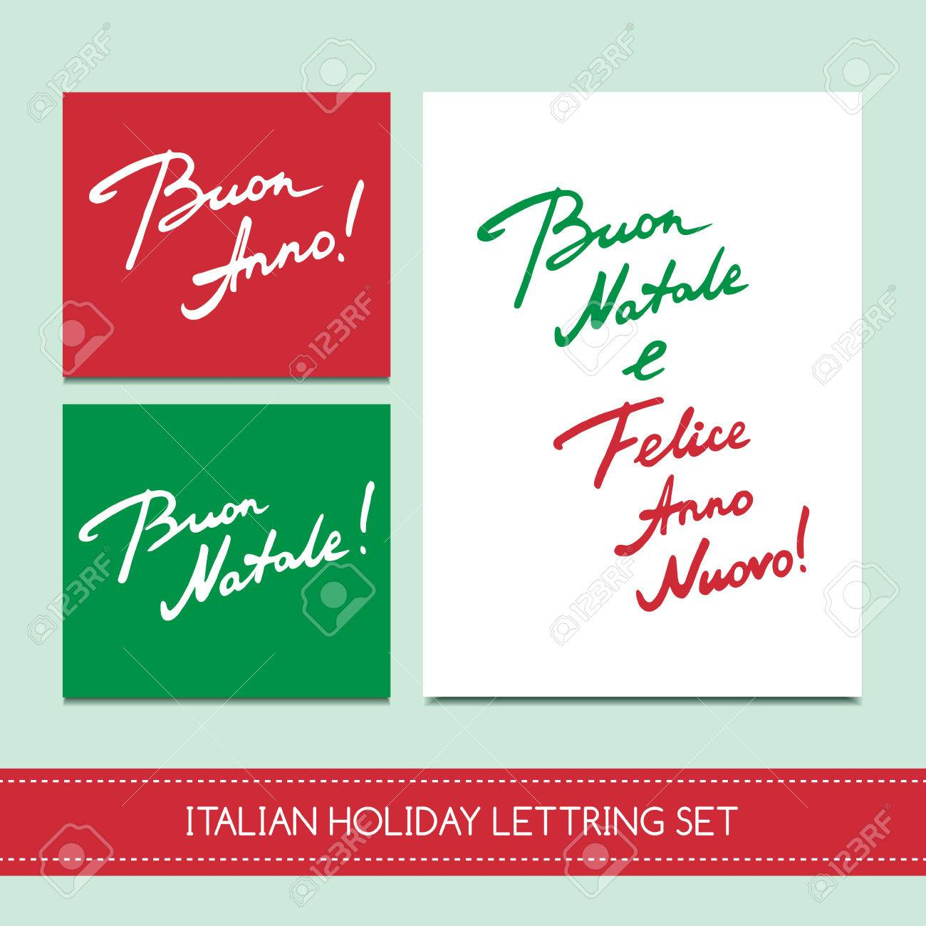 Set Italian Christmas Cards Royalty Free Cliparts, Vectors, And ...