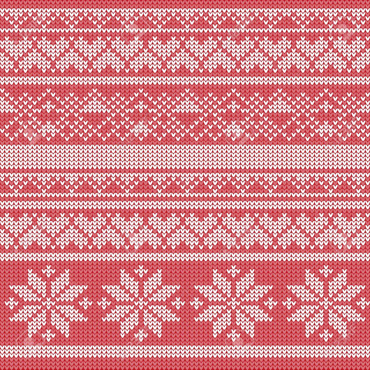 Knitted Pattern Vector. Red White Holiday Background With Snowflake ...