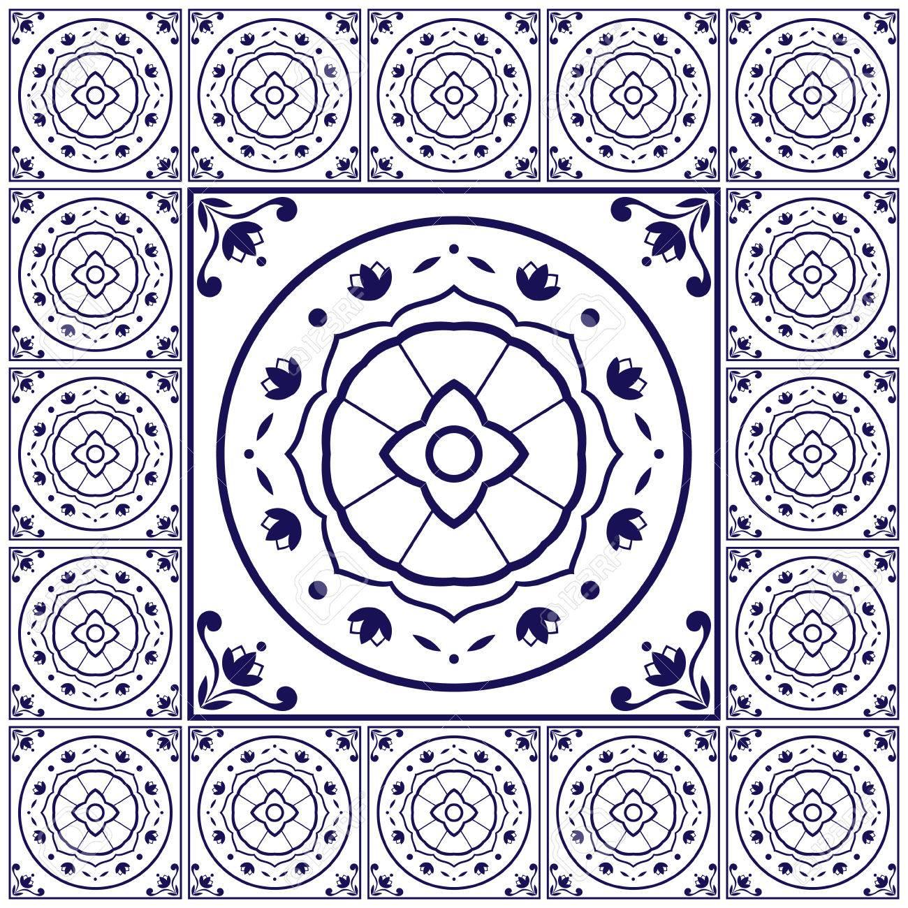Azul Blanco Azulejos Vector Patrón Con Azulejos De Cerámica De ...