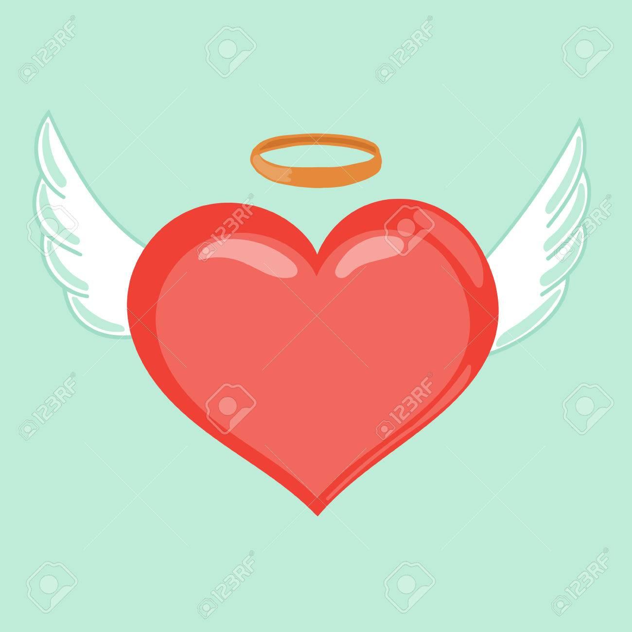 Corazón Con Alas Y Aureola Ilustración Linda Del Estilo De Dibujos