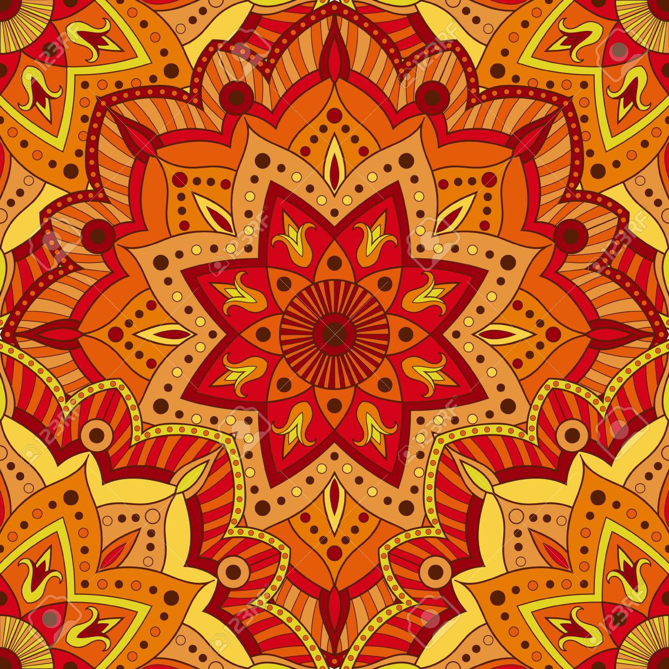 Seamless Indian Pattern For Wrapping Paper Fabric Or Wallpaper Hand Drawn Mandala Decoration