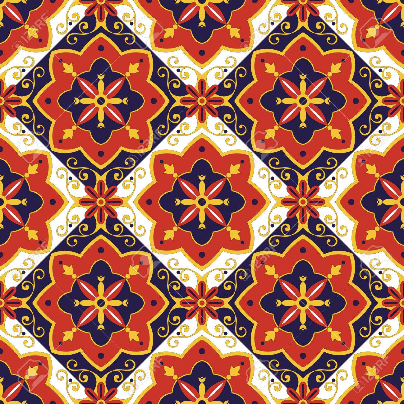 Italian Tiles Pattern Vector With Diagonal Blue, Red, Yellow ...