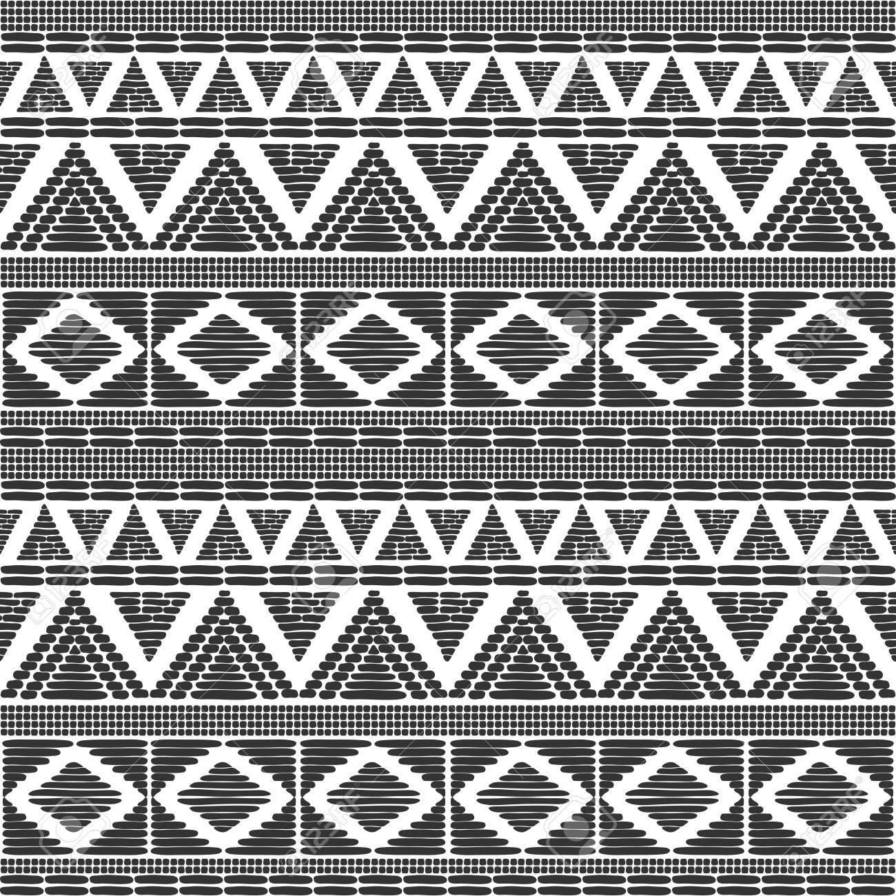 Tribal pattern vector in black white colors print with african tribe border motifs ethic