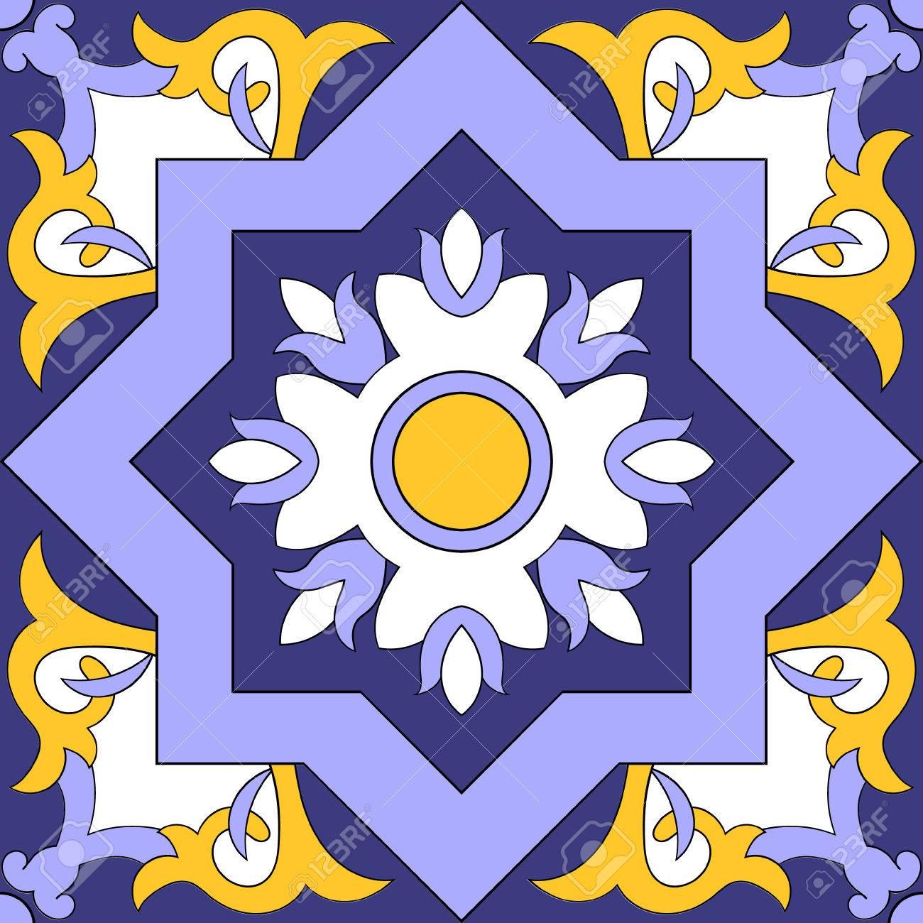 Portugiesischen Kacheln Azulejos Muster Vektor Nahtlos Blau Weiss