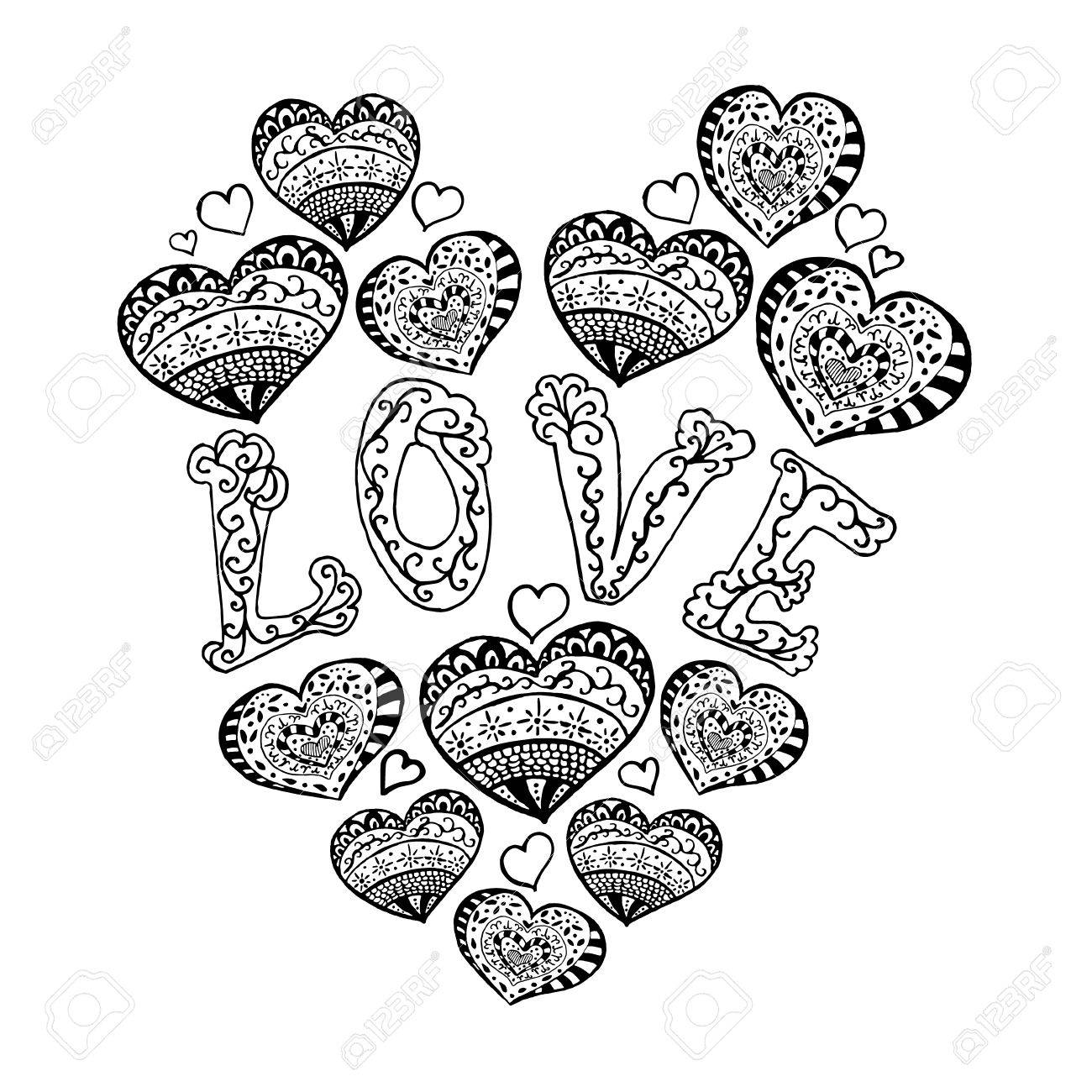 Zentangle Heart Pattern For Relax Hand Drawn Love