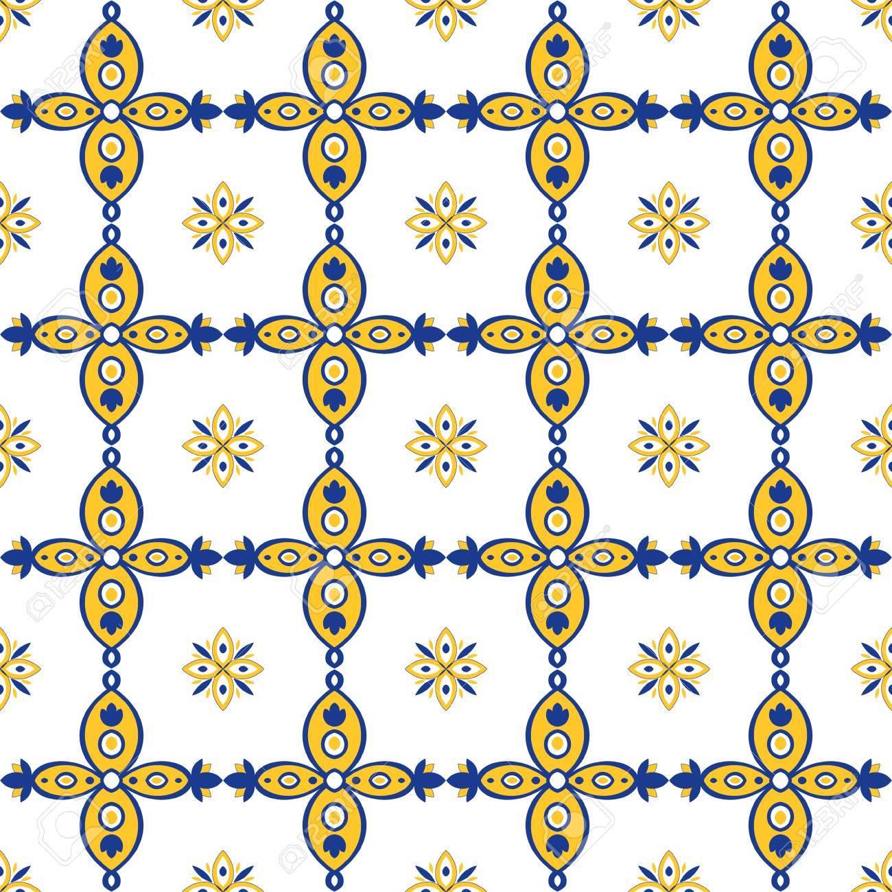 Salle De Bain Discac Loft ~ Motif Oriental Sans Couture Bleu Jaune Et Blanc Carreaux Portugais