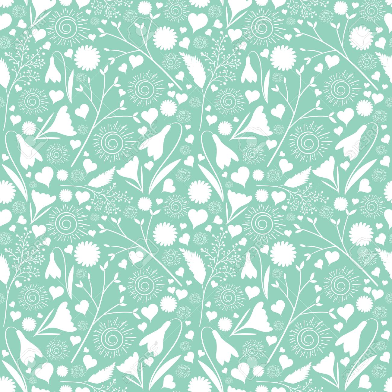 White flower pattern vector seamless on mint green background vector white flower pattern vector seamless on mint green background floral print for spring cards girl female design wedding invitation save the date mightylinksfo