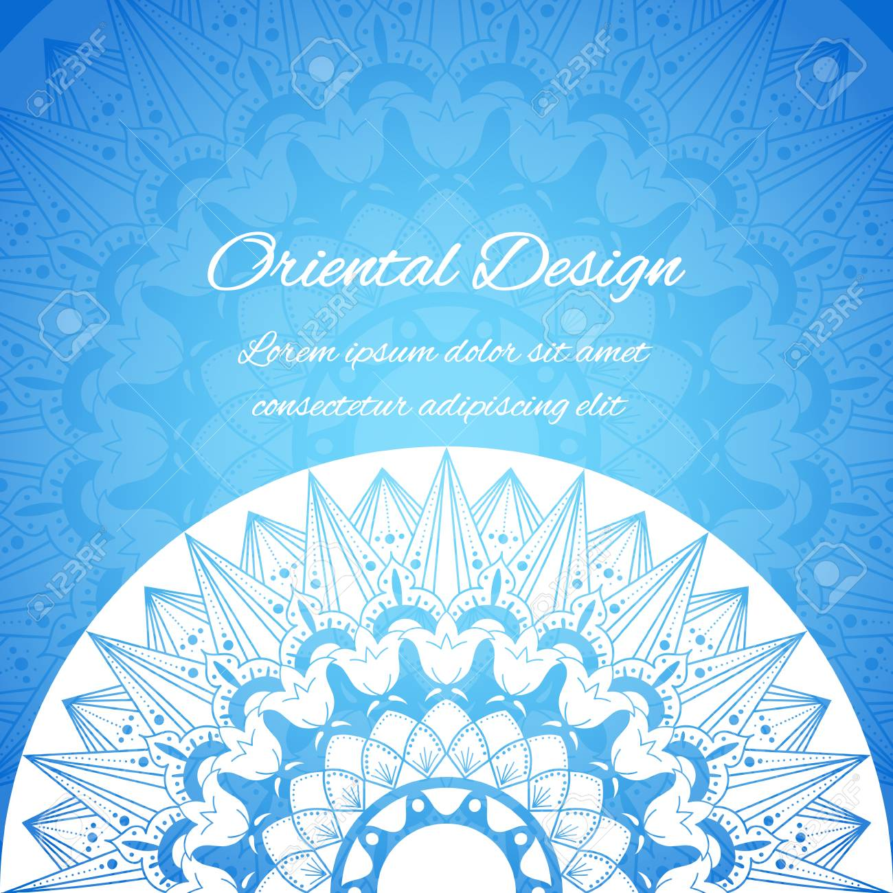 Indian Card Vector With Unique Mandala Motifs Blue Oriental Design Template For Wedding