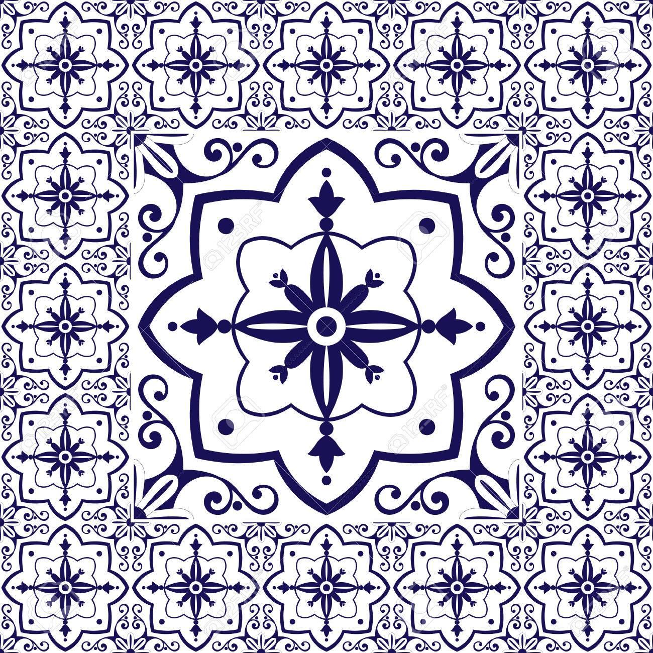 Sol De Carrelage En Bleu Blanc Vecteur De Motif Vintage Avec