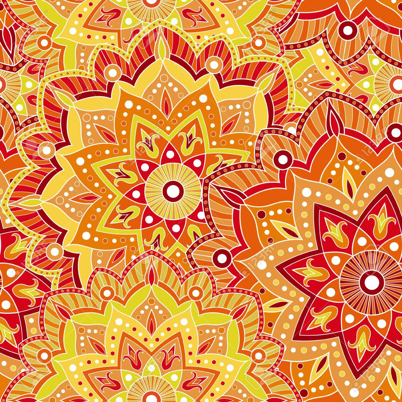 Seamless India Pattern For Wrapping Paper Fabric Or Wallpaper Hand Drawn Mandala Decoration Vector