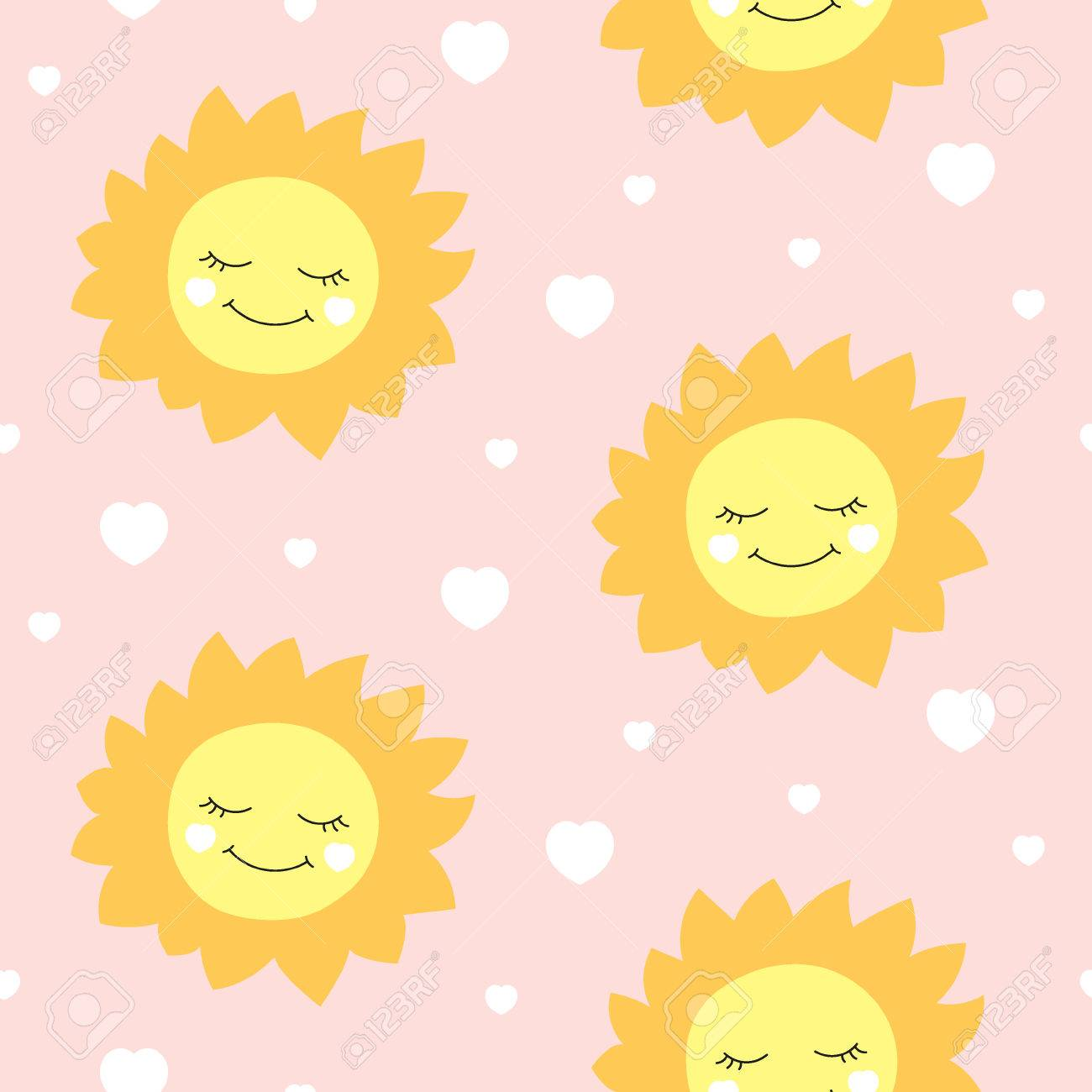 Cute Baby Sun Pattern Vector Seamless Girl Print With Happy And Hearts On Pink