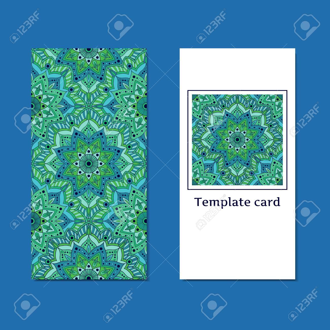 Carte De Linde A Imprimer.Vecteur De Mise En Page De Modele Oriental Impression Decorative Orientale Verte Pour La Carte De Voeux Ou La Conception D Invitation Cartes De