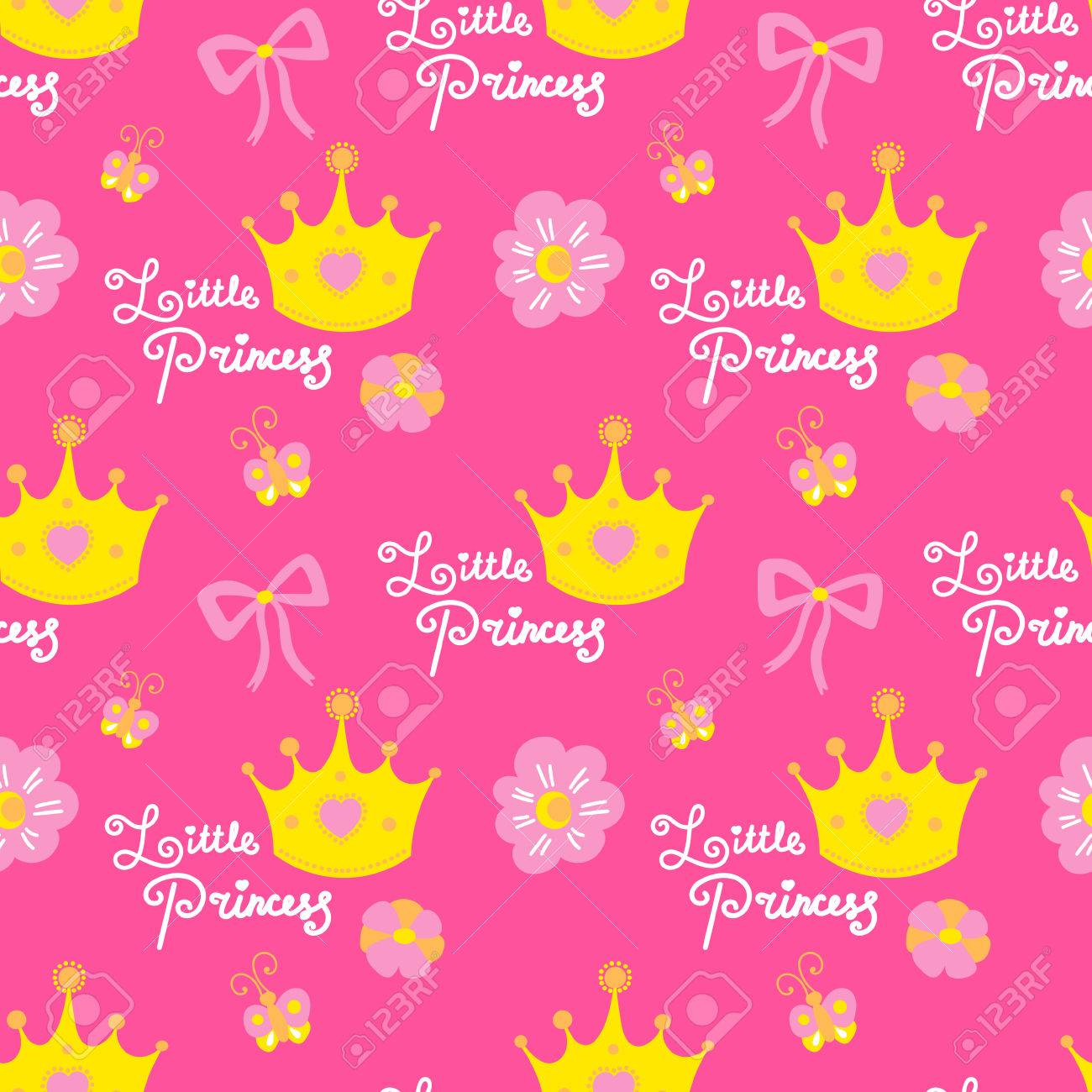 Little Princess Pattern Vector Pink Girl Background For Children Royalty Free Cliparts Vectors And Stock Illustration Image 75733269