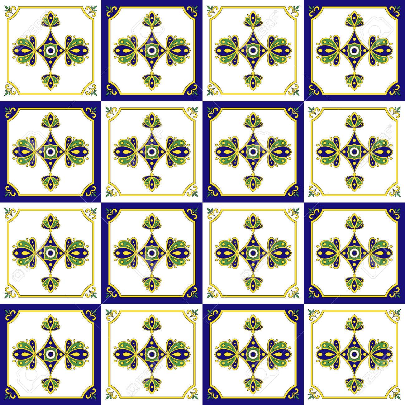 Traditional Mexican Tiles Pattern Seamless Vector Stock