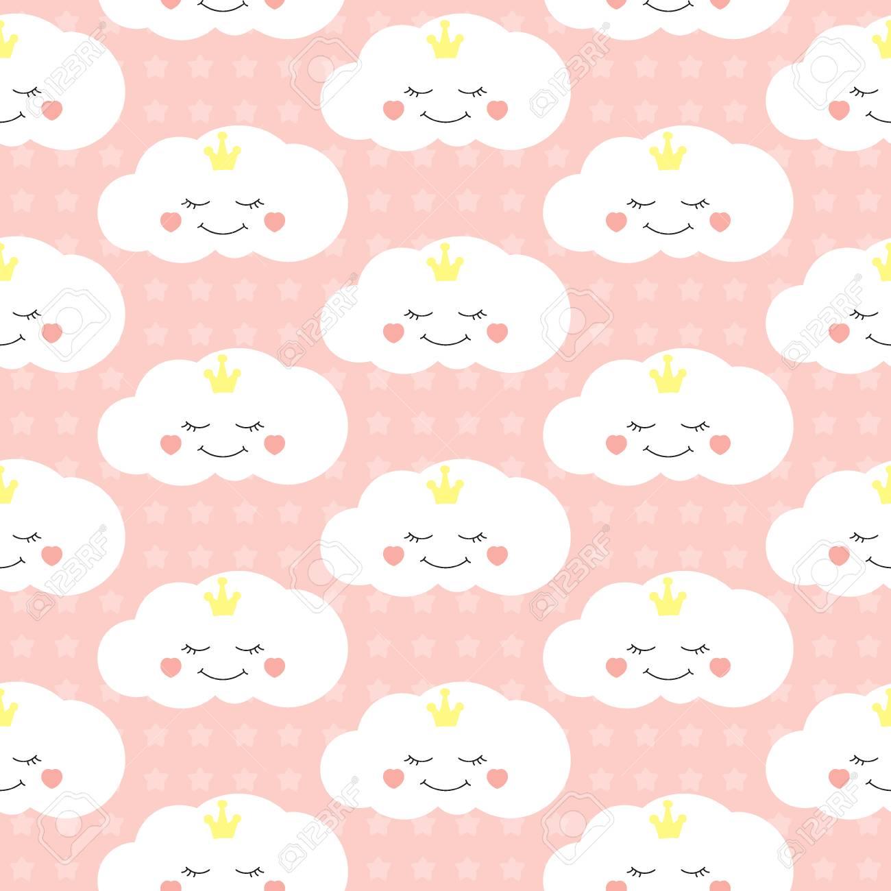Cute baby cloud pattern vector seamless  Little princess print