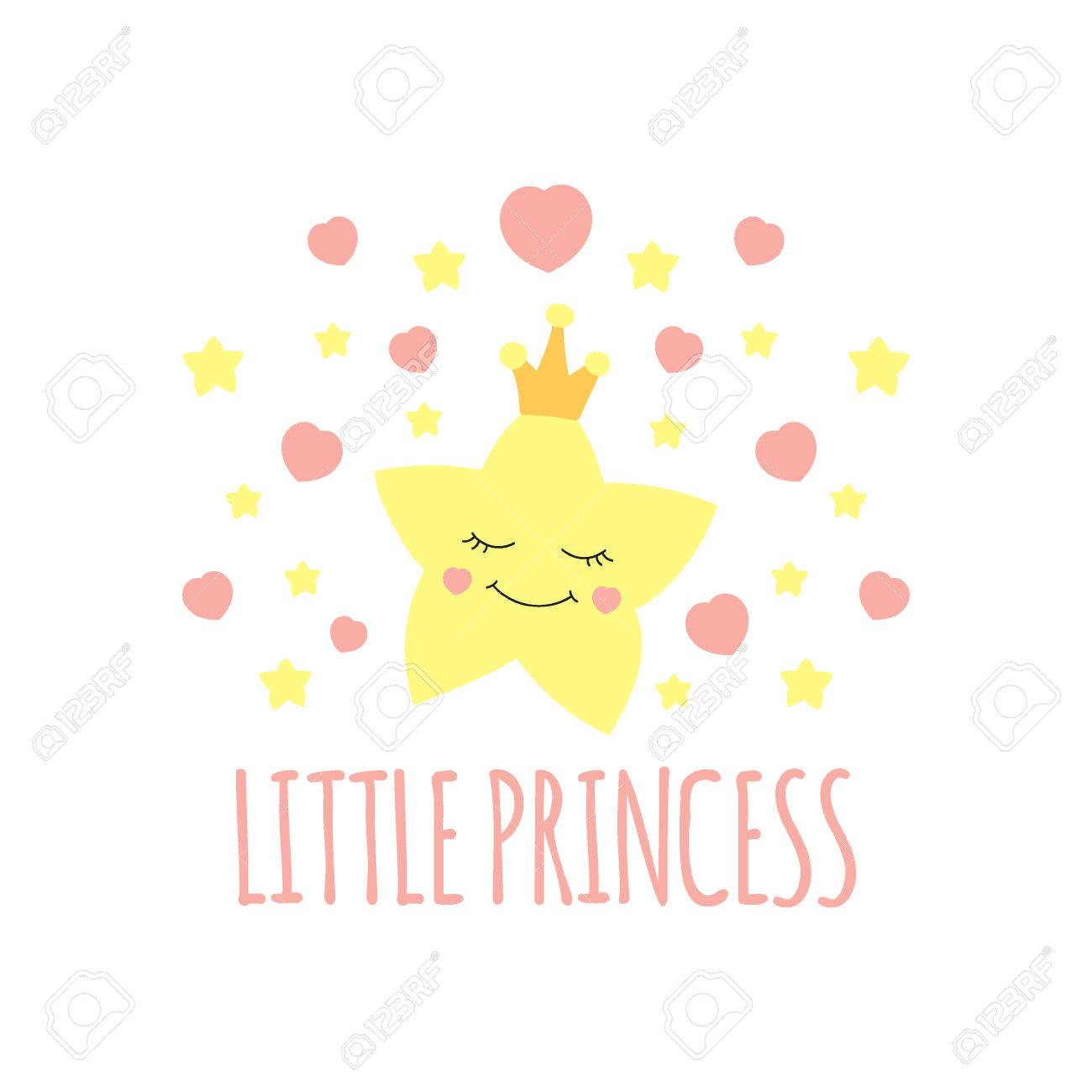 王冠プリントのかわいい星姫の背景を少し女の子のポスターイラスト
