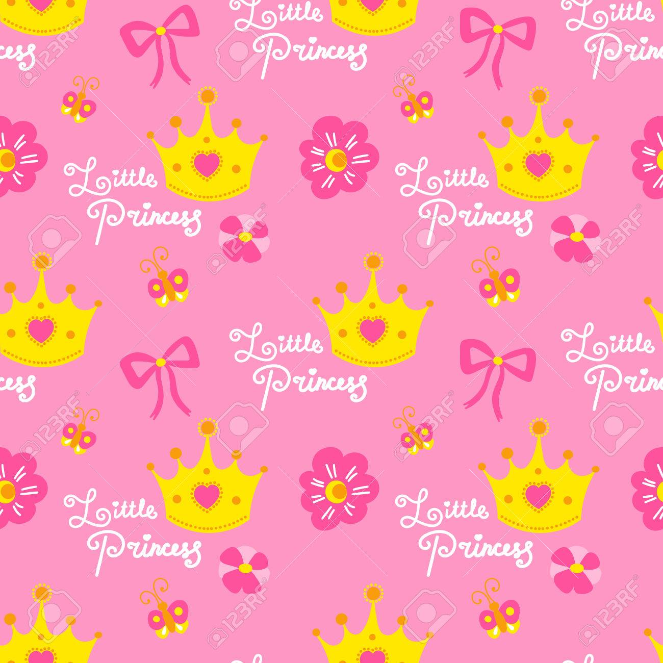 pink little princess pattern vector cute background for template