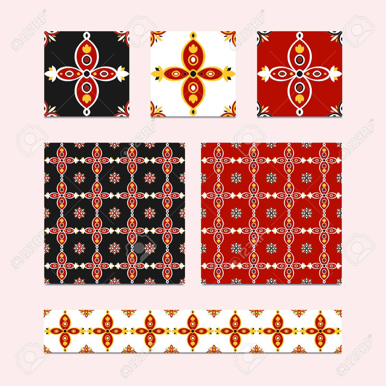 Vector Set Of 3 Ceramic Tiles 2 Tiled Patterns And Border Design Royalty Free Cliparts Vectors And Stock Illustration Image 77612352