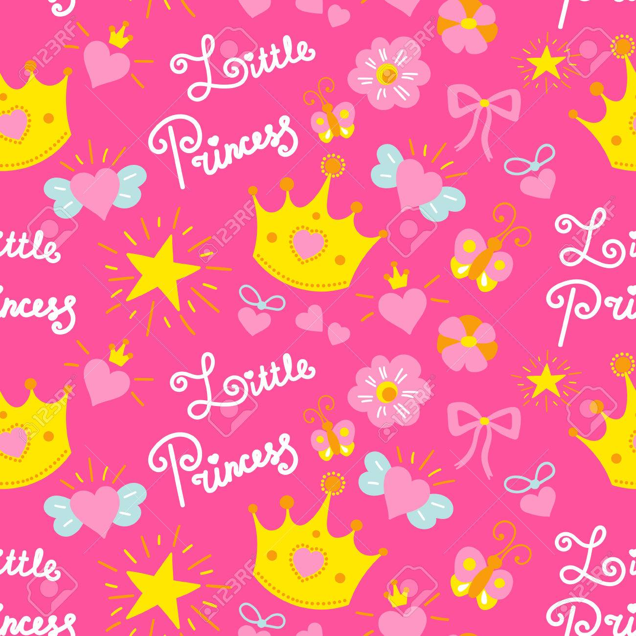 Pink little princess pattern vector girl baby background for pink little princess pattern vector girl baby background for template birthday card baby shower stopboris Choice Image