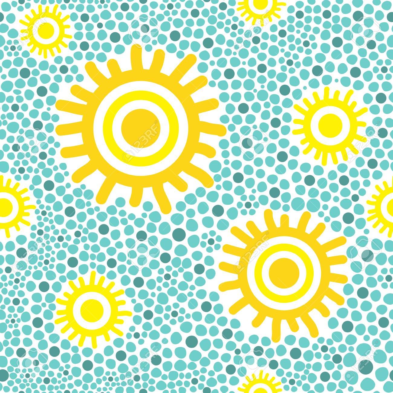 Sun Pattern Vector Seamless Yellow Sunny Kids Wallpaper Print