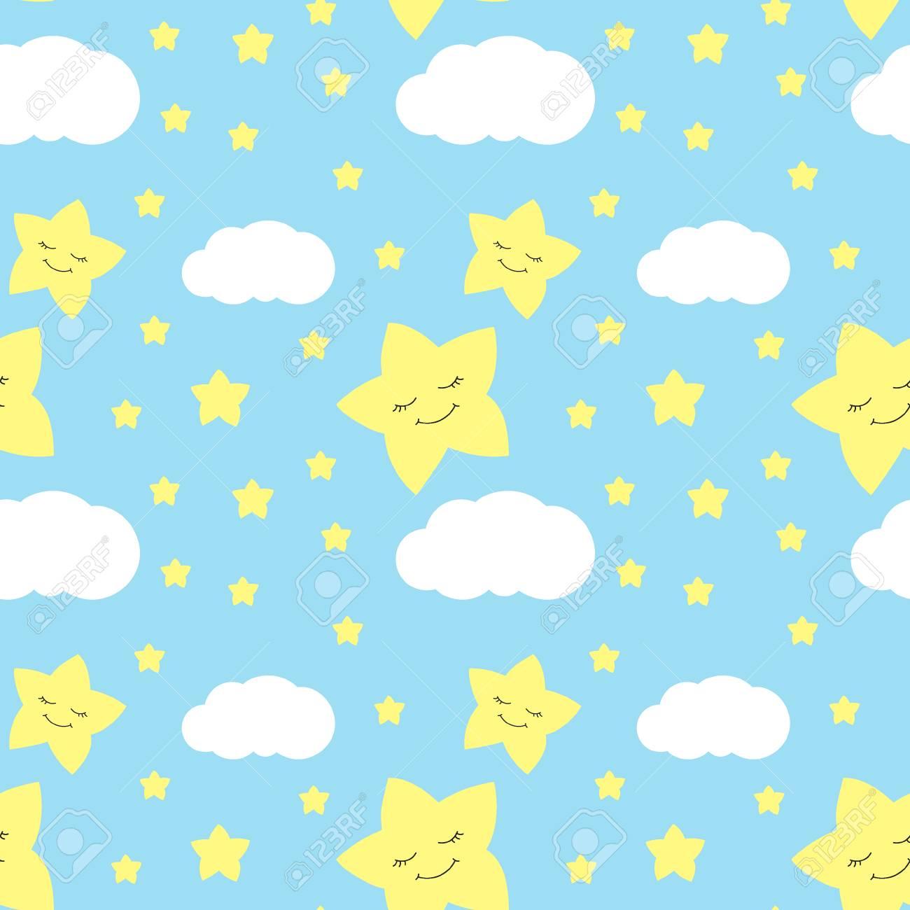 かわいい赤ちゃん星のパターン ベクトルのシームレスです 印刷まつげ
