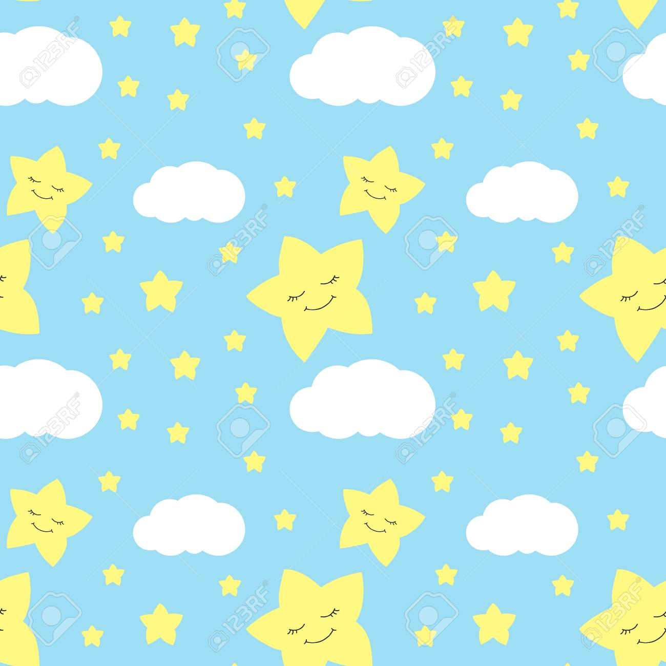 Cute Baby Star Pattern Vector Seamless Boy Print With Eyelash Royalty Free Cliparts Vectors And Stock Illustration Image 78598828