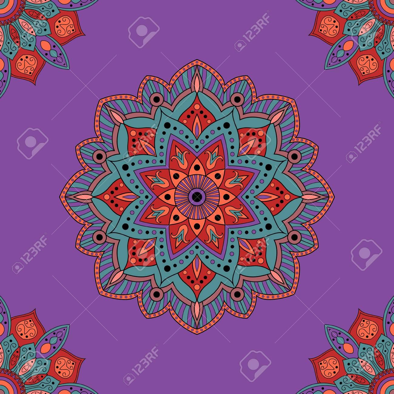 nahtlose indien hintergrund fr verpackung papier stoff oder tapeten hand gezeichnete orientalische verzierung mandala - Tapete Orientalisches Muster