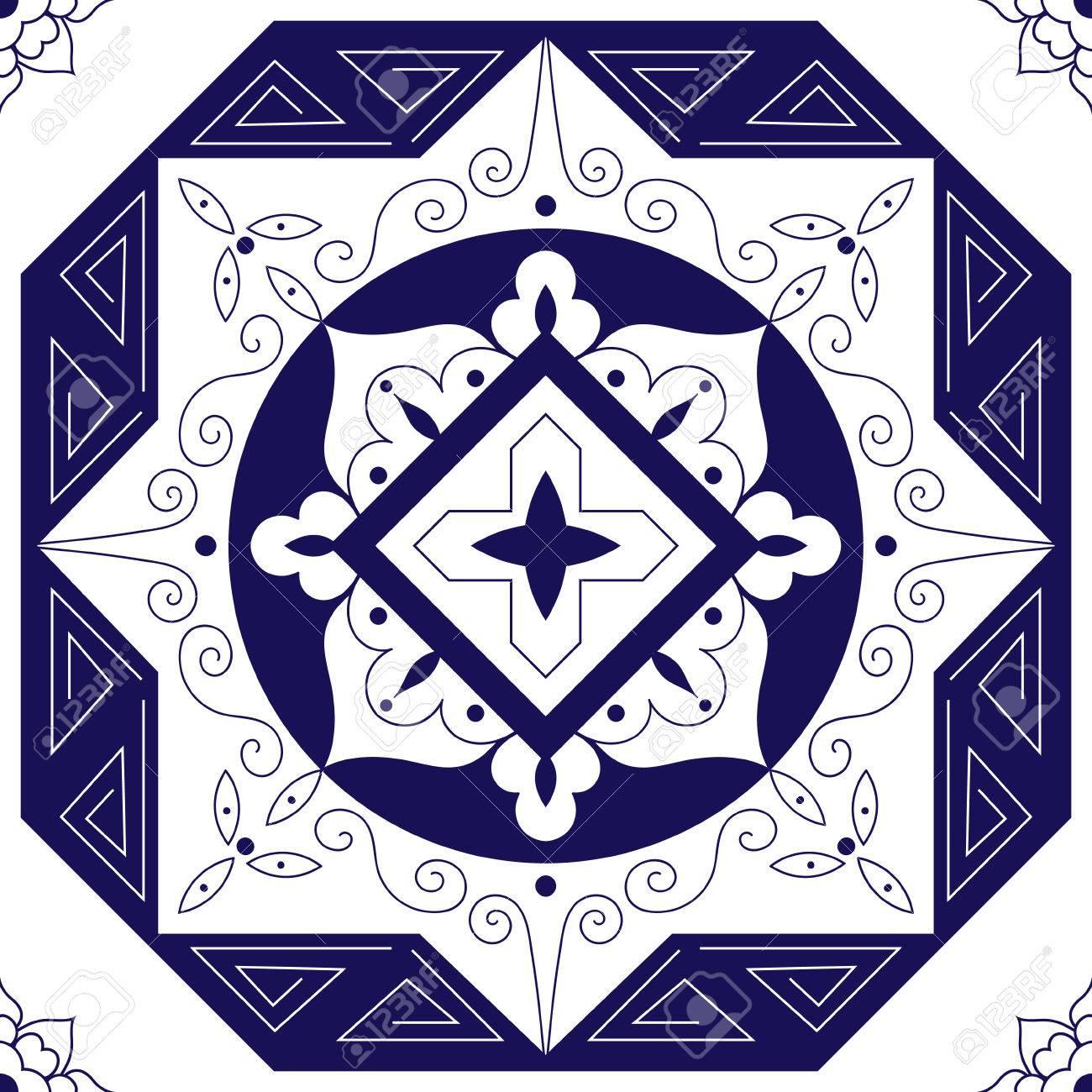 Portugiesische Fliesen Azulejos Muster Vektor Nahtlos Blaues Weißes - Portugiesische fliesen azulejos