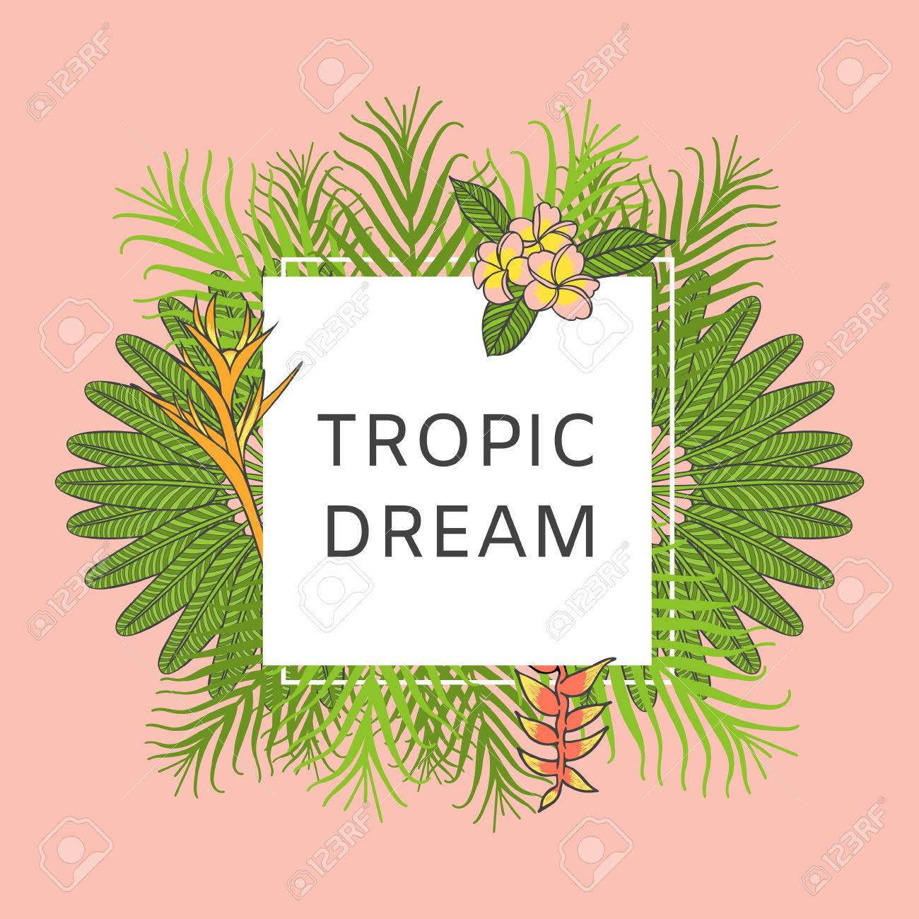 Sommer Tropischen Hintergrund Vektor. Exotische Blumenplakatvorlage ...