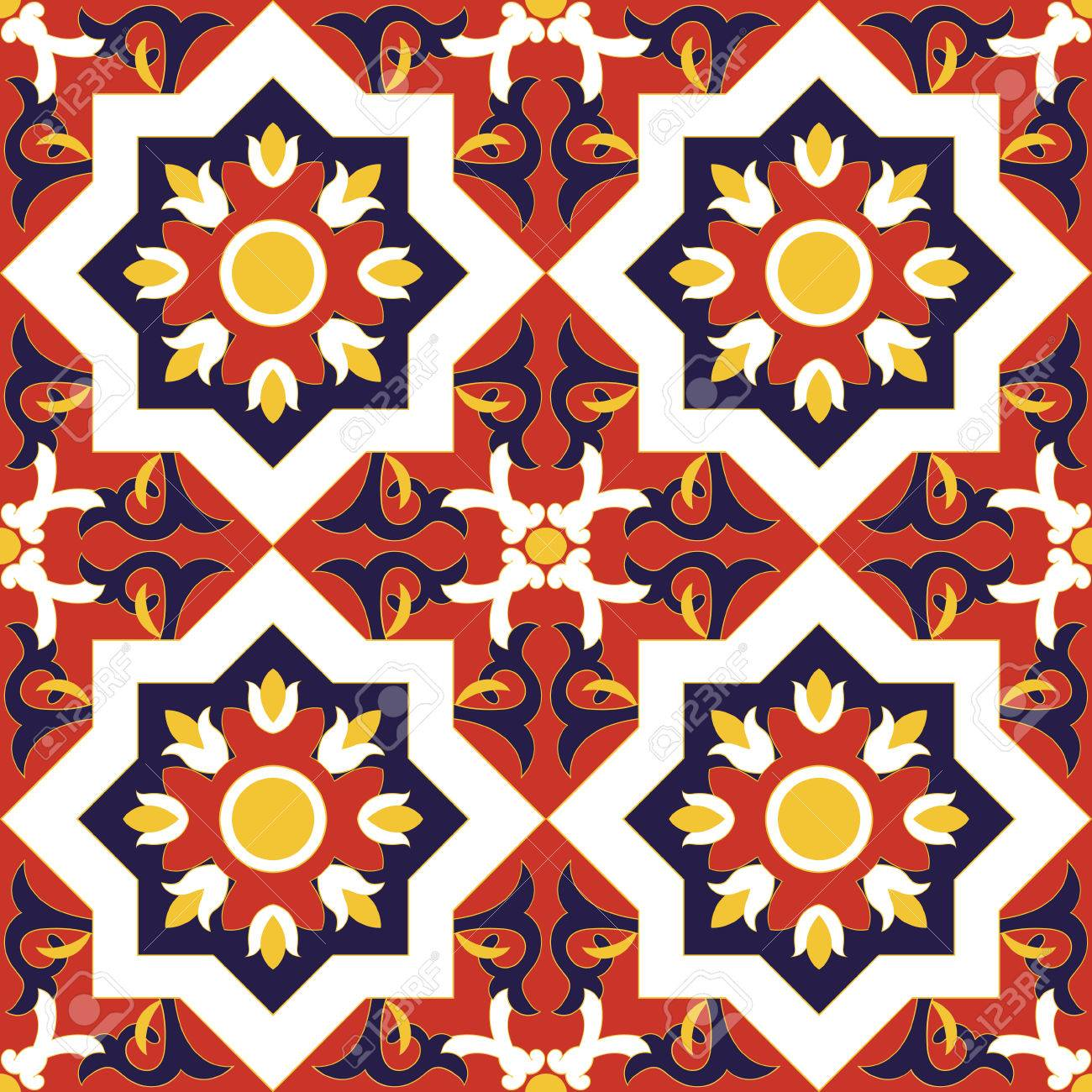 Spanish Tile Pattern Vector Seamless With Flowers Motifs Royalty