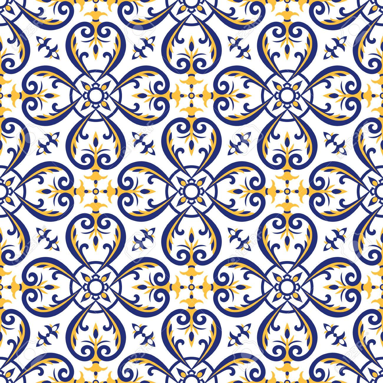 Mexican Tiles Pattern Vector With Blue, Yellow And White Ornaments ...