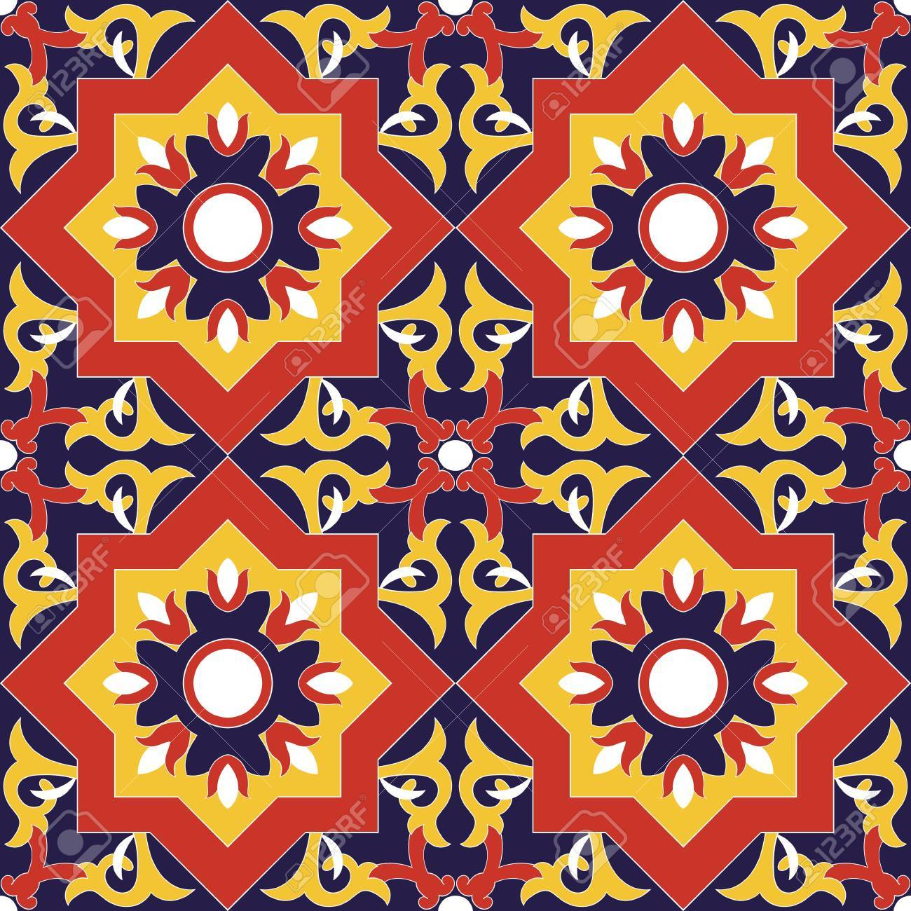 Spanish Tile Pattern Vector Seamless With Flowers Motifs. Azulejo ...