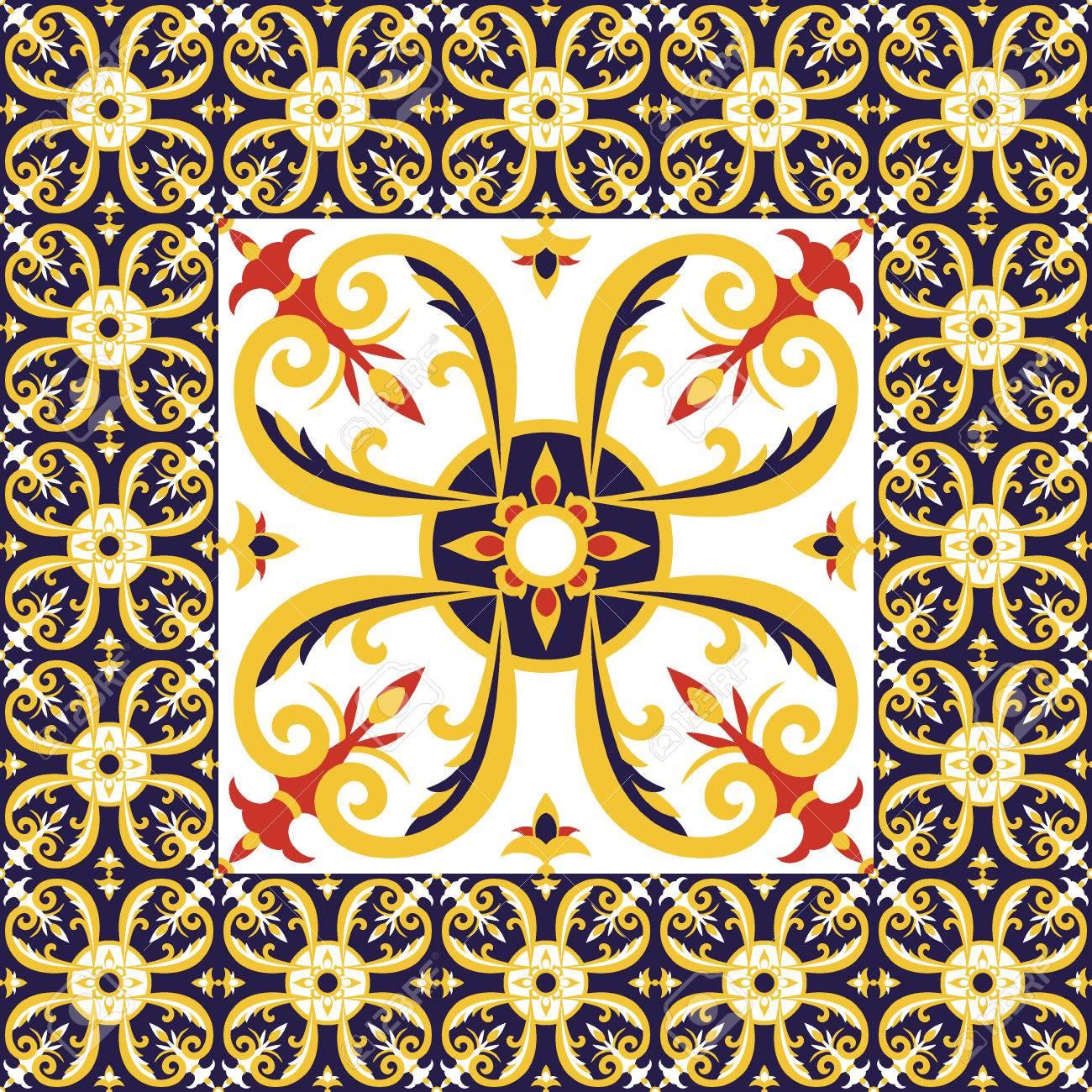 Azulejos Suelo Vector Patrón Con Azulejos De Cerámica. El Azulejo ...