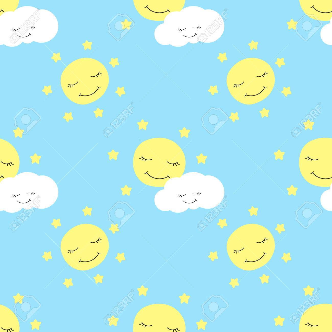 Cute Baby Moon Pattern Vector Seamless Children Print With Eyelash Stars And Clouds