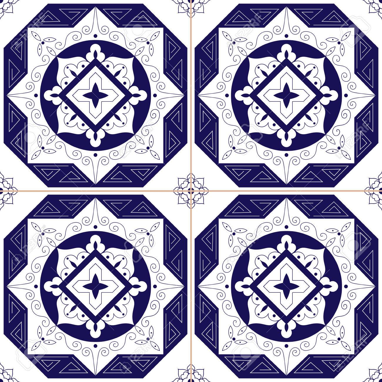 Mexican Tiles Azulejos Pattern Vector Seamless Blue White Traditional Tile Ornament Design Illustration