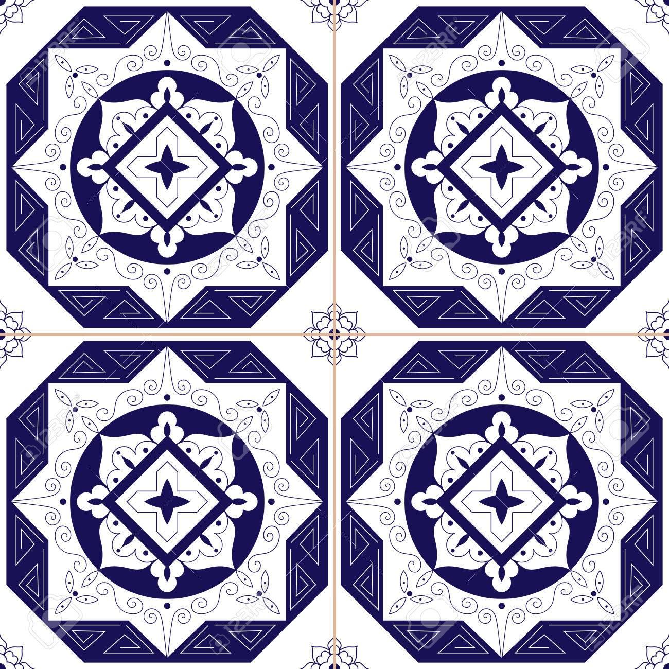 Archivio Fotografico   Piastrelle Messicane Azulejos Modello Vettoriale  Senza Soluzione Di Continuità. Piastrelle Tradizionali Blu Piastrelle  Design ...