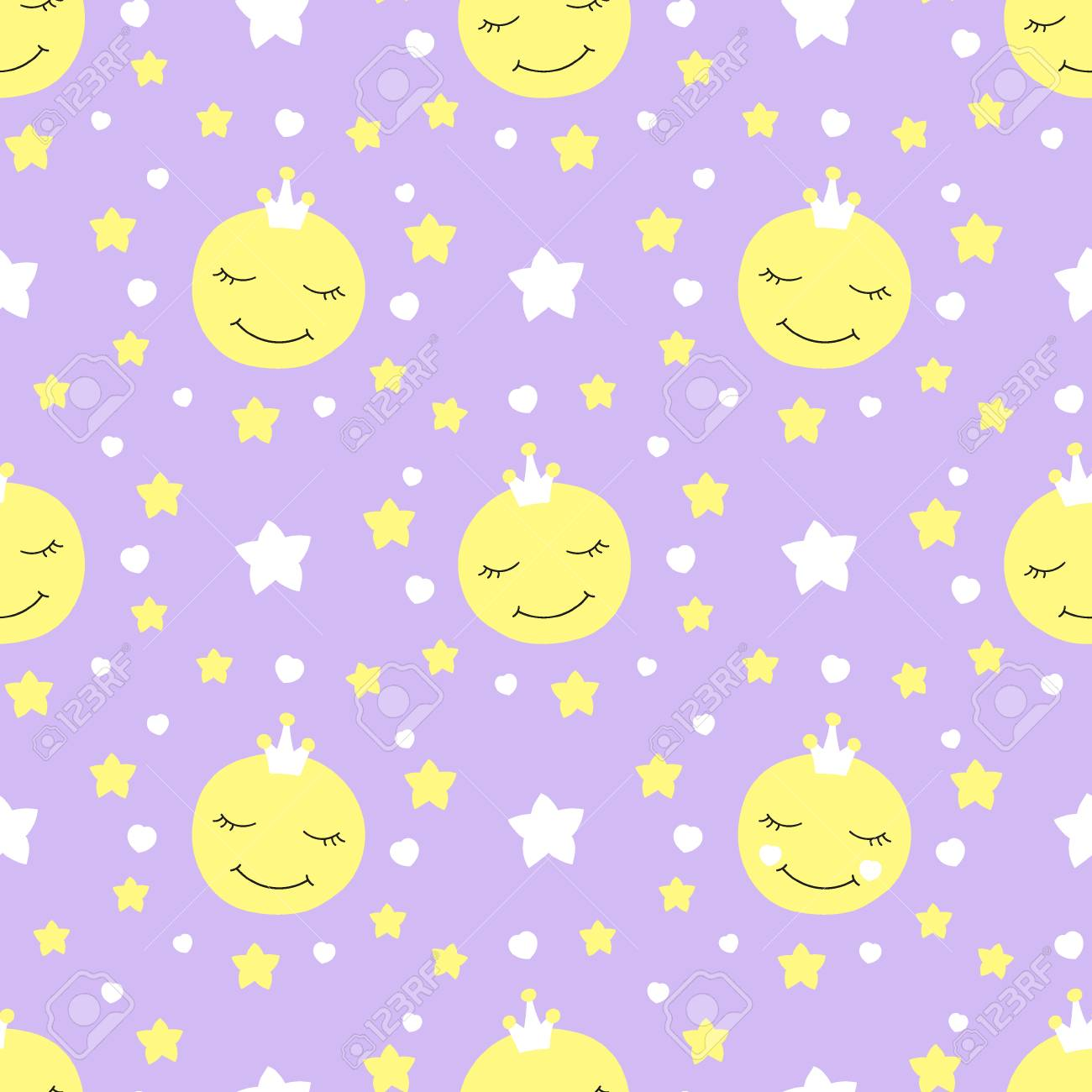 cute baby moon pattern vector seamless. princess print with eyelash