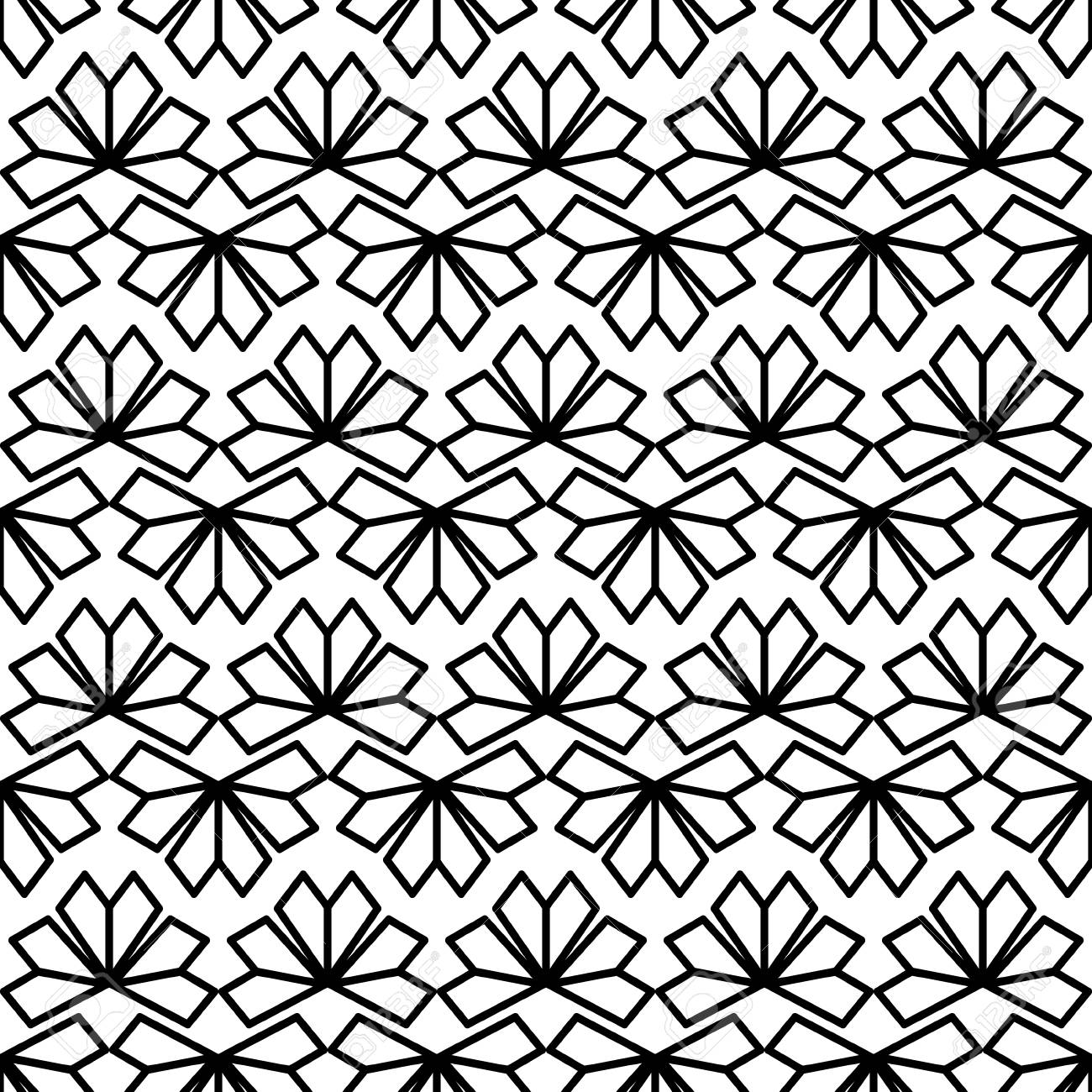 Black White Texture Vector Modern Chinese Geometric Flower Pattern