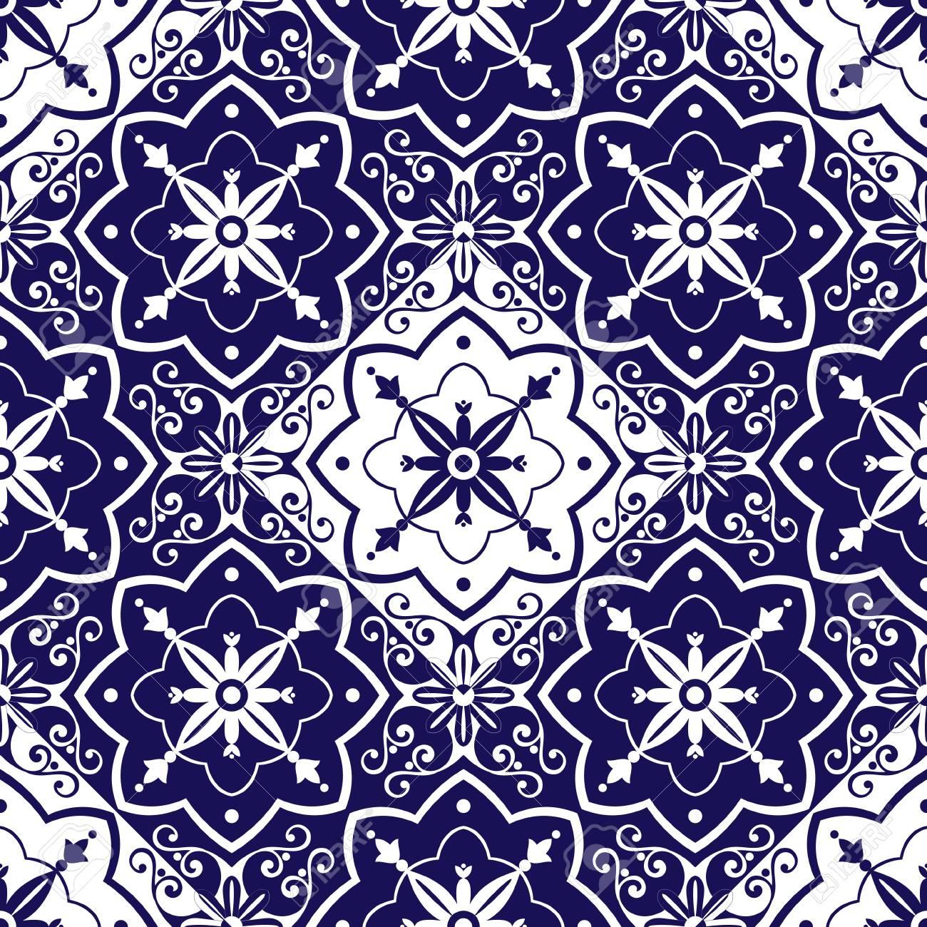 Carrelage Vecteur De Motif Avec Des Ornements Diagonaux Bleu Et Blanc D Echecs Portugais Azulejo Mexicain Espagnol Arabe Ou Marocain Fond En