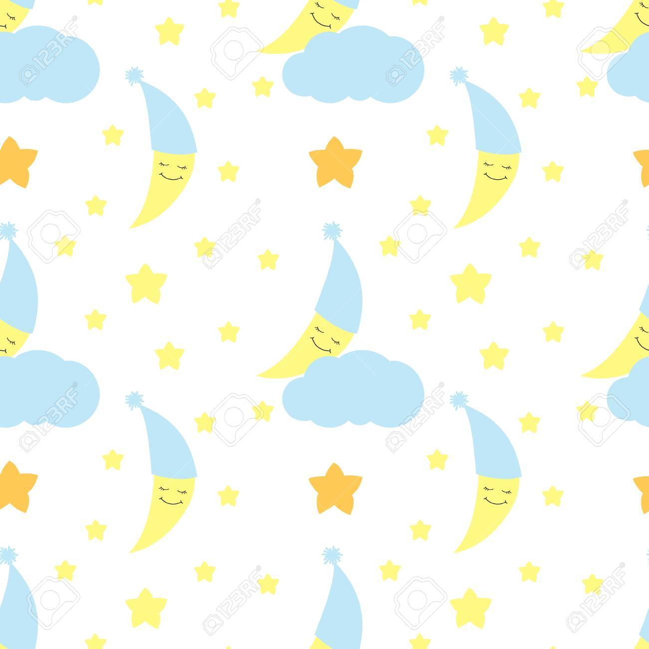 seamless pattern of cute baby half moon background for birthday