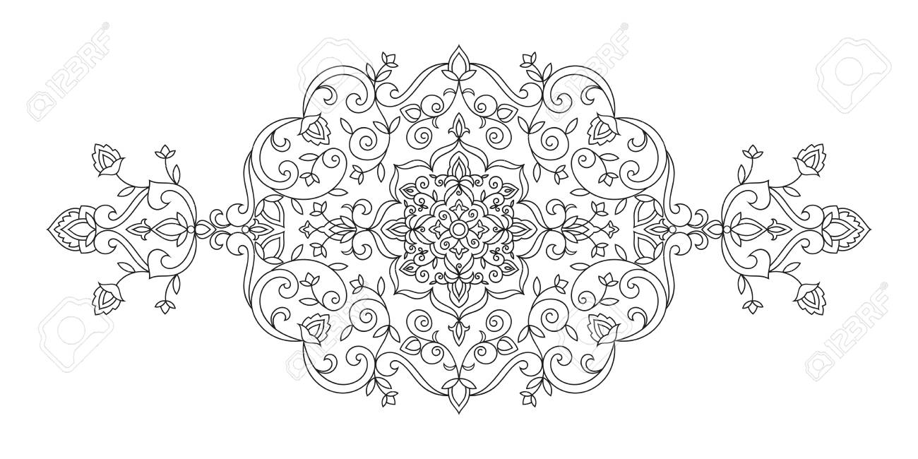 oriental ornament with floral motifs line art flowers pattern rh 123rf com